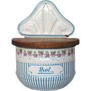 Rose Garland Blue Striped French Enamel Graniteware Salt Box