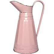 French Pink Enamel Graniteware XL Pitcher