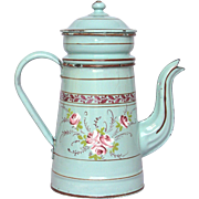Hand-Painted Floral French Enamel Drip Coffee Pot Biggin - 1800s