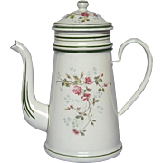 NEAR-MINT Enamel French Drip Coffee Pot Biggin - early 1900s - Rose Decor
