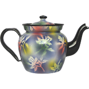FUNKY Multi-Colored Enameled  French Tea Pot - early 1900s