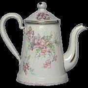 Petite French  Antique Enamel Graniteware Floral Coffee Pot