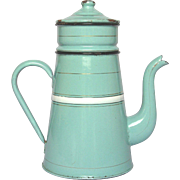 Pretty Aqua Green Enamel French Graniteware Drip Coffee Pot Biggin