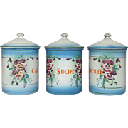 Trio of JAPY Floral Canisters from France - Near Mint Condition