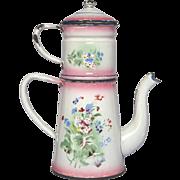 French Pink Shaded Enamel Floral Drip Coffee Pot Biggin