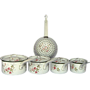 Floral Enamelware Casserole Pan Set with Lids from France