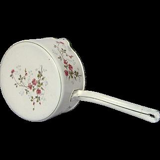 Very Near Mint Condition French Floral Enamel Graniteware Pot / Pan / Casserole
