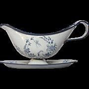 FINAL Reduction - Antique Graniteware Enamel Sauce Boat - Enamelware Saucer - Late 1800s