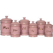Complete Six Piece PINK Enamelware French Canister Set