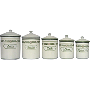 Set of Five French Enamel Graniteware Canisters - EXCELLENT Condition