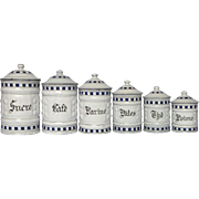 Complete Set of French Enamel Graniteware Canisters