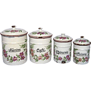 French Floral Enamel Graniteware Kitchen Canisters