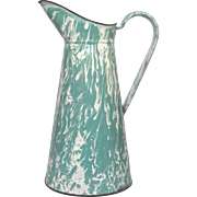Rare - AQUA & White SWIRL French Enameled Pitcher - Fantastic Condition