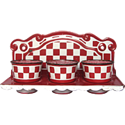 French Enamel Red & White Check Cleaning Canister - Laundry Rack