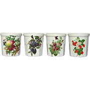 Set of Four French Porcelain Jam / Jelly Jars / Confiture Crocks