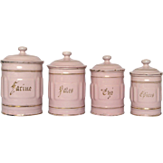 PINK Enamel French Graniteware Kitchen Canisters