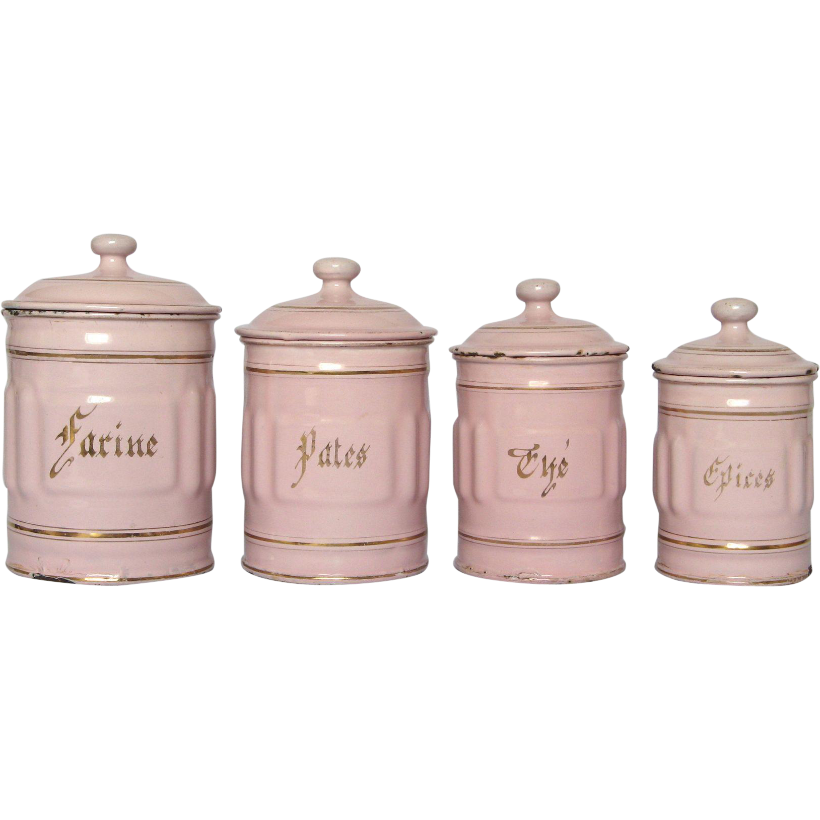 pink kitchen canisters pink enamel french graniteware kitchen canisters from yesterdaysfrance on ruby lane 8002