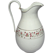 Alluring early 1900s French Floral Enamel Graniteware Pitcher