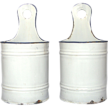 Pair of Graniteware Enameled Storage Canisters from France