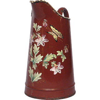 Hand-Painted Flowers & Butterfly Decor - Enameled Pitcher