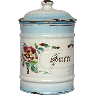 French JAPY Enamelware Pansy Floral Graniteware Sugar Canister