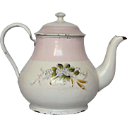 Early Enamelware Coffee / Tea Pot with Polychrome Floral & Pink Banded Decors
