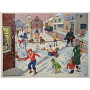 Vintage French School Poster - Snow Day and Post Office