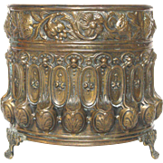 Early 1900 Brass Repousse Planter / Jardiniere from France