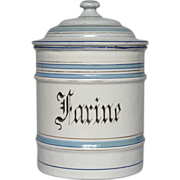 Near Mint Condition French Enameled Flour Canister
