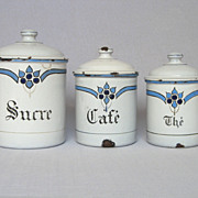 Final REDUCTION - Three French Enamelware Art-Deco Canisters