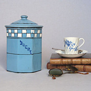 French Enamelware Sugar Canister - Octagonal Shape -early 1900s