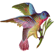 Colorful Victorian Era Diecut Bird