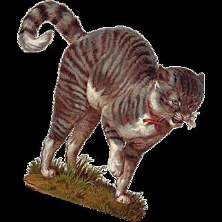 Large Victorian Era Diecut Hissing Cat