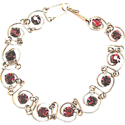 Ruby Rhinestone and Wrapped Wire Bracelet