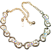 Vintage Six Link Aurora Borealis Necklace