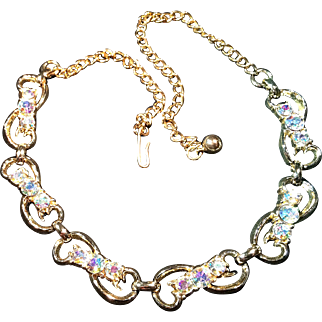 Vintage Six Link Aurora Borealis Necklace