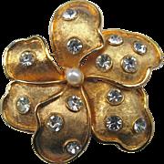 Hefty Signed Vintage Kramer Six-Petaled Floral Pin