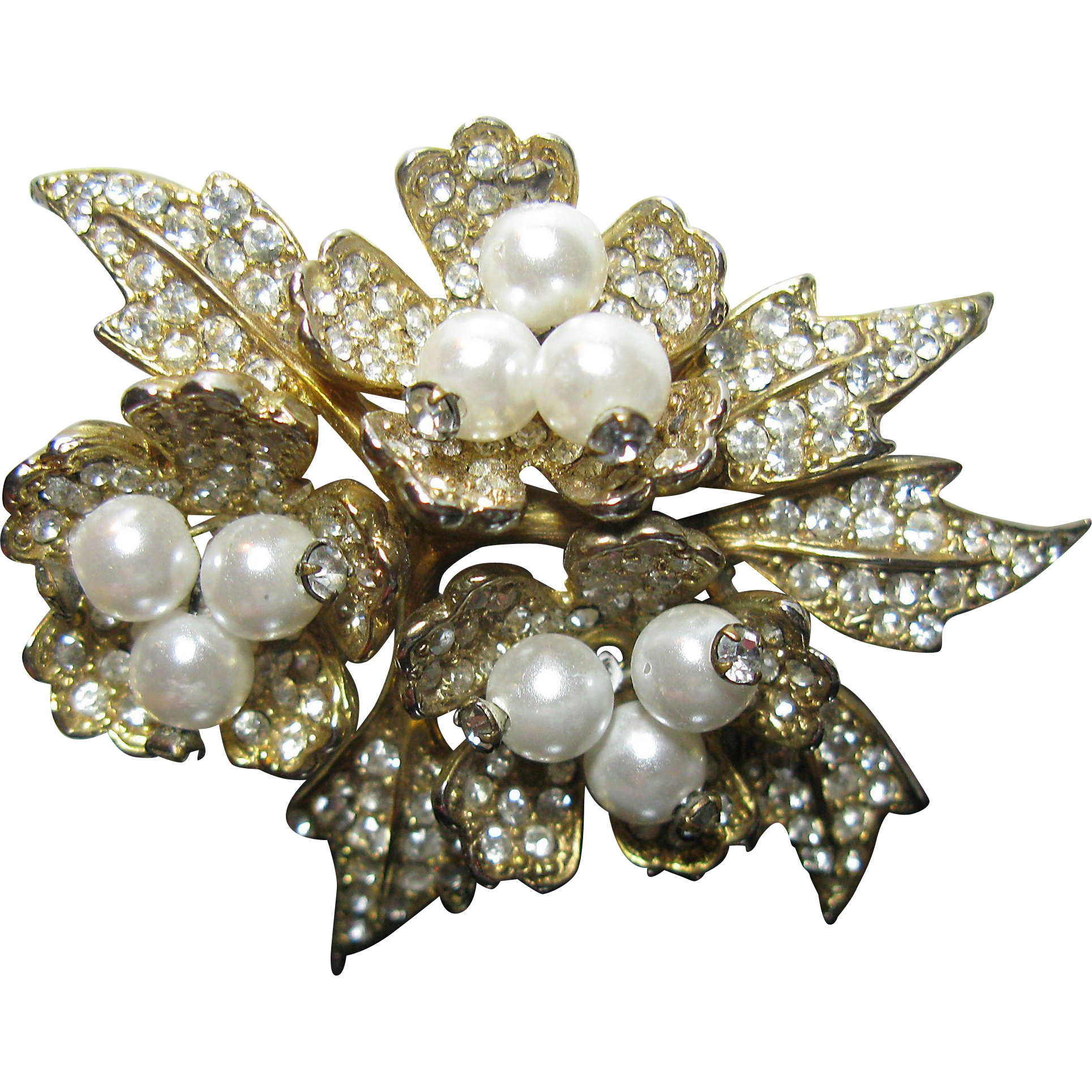 Pave Rhinestone and Faux Pearl Leaves Brooch
