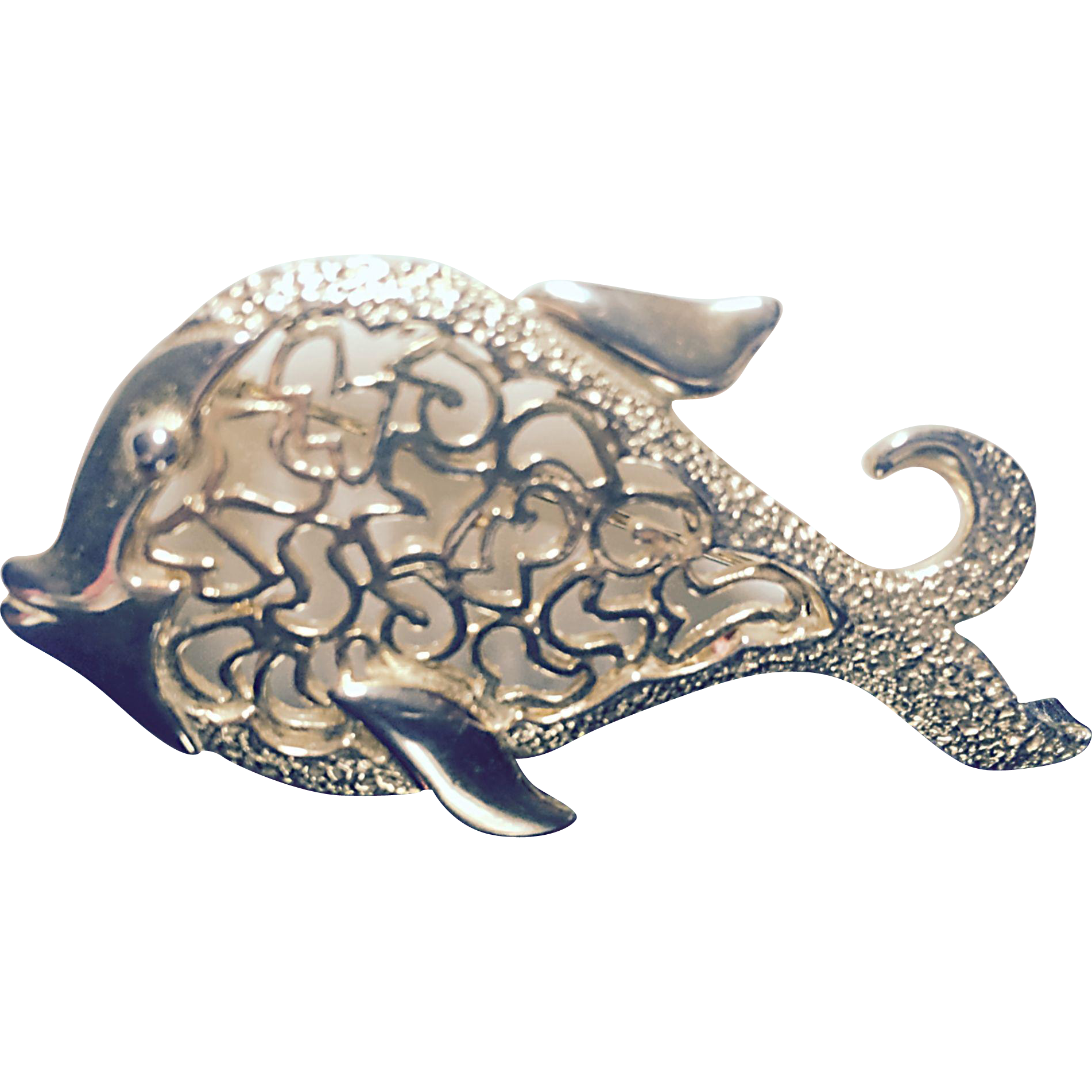 Goldtone Textured and Filigree Fish Brooch