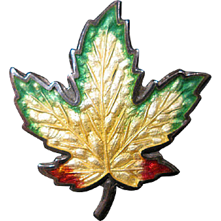 Colorful Sterling Silver Enameled Maple Leaf Pin