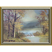 Small Miniature Oil Painting Landscape with Dam Signed 1980s