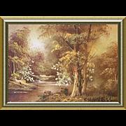 Small Miniature Oil Paintling Golden Landscape