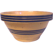 Blue Band Yellow Ware Bowl 2 Sets of Bands