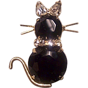 Vintage Black Cat Rhinestone Pin Brooch