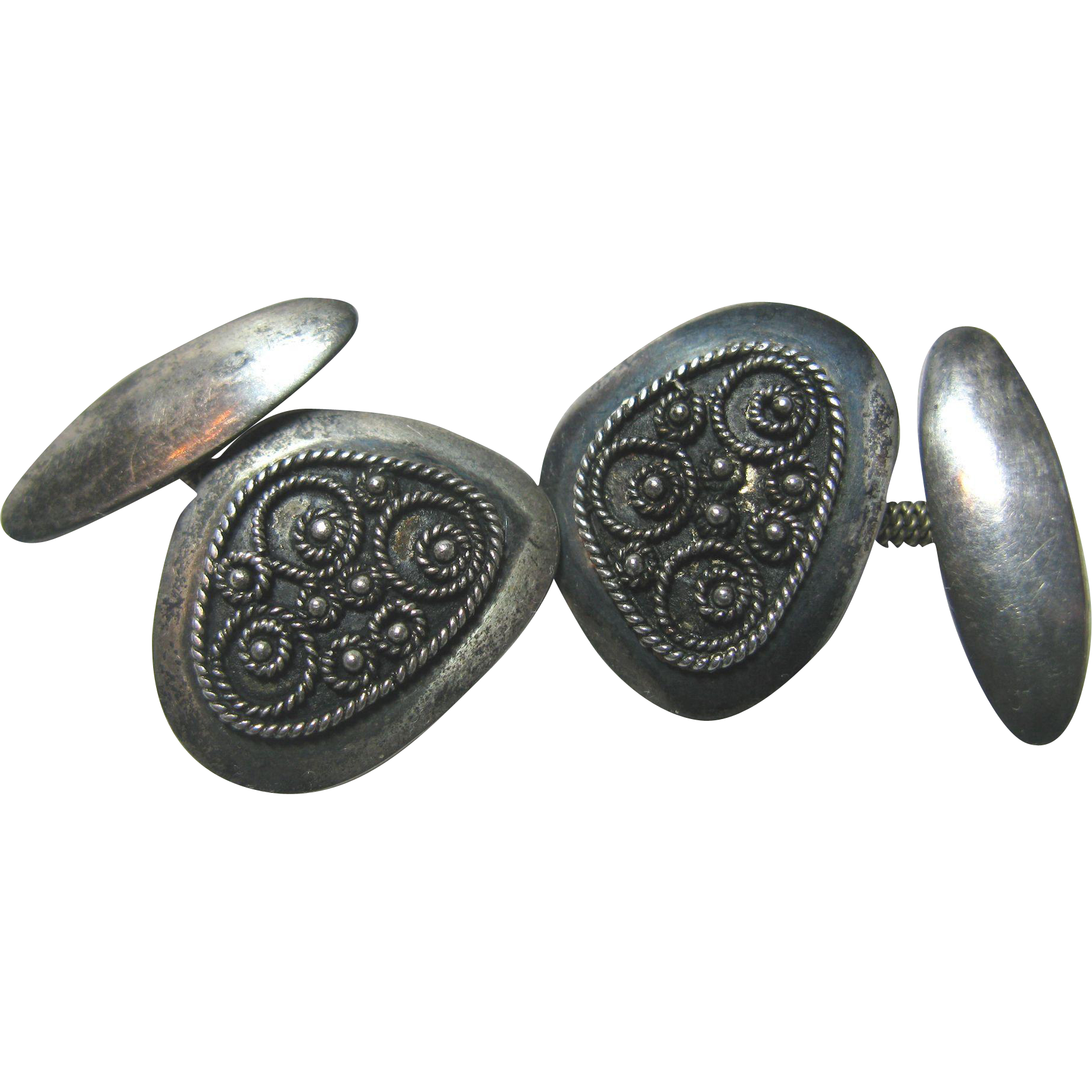 Sterling Silver Cuff Links with Coiled Wire Ornamentation