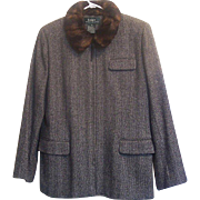 1980s Vintage Ralph Lauren Herringbone Wool Tweed Jacket Faux Fur Collar