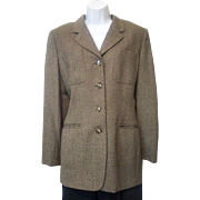 Vintage 1980s Jones New York Lightweight Brown Grey Gold Wool Jacket Sz 10