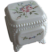 Westmoreland Glass Handpainted Victorian Trinket Box with Original Westmoreland Price Sticker