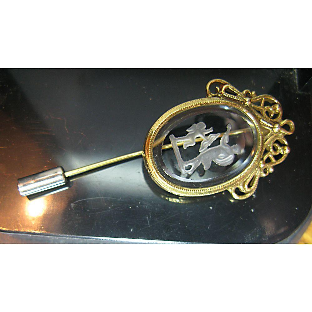 Ornate Glass Intaglio Cupid Stick Pin