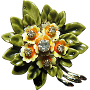 1950s Coro Enamel and Rhinestone  Flower Pin